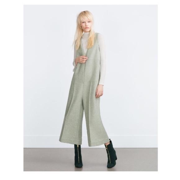 GroBartig New Zara Wool Jumpsuit Wide Leg Cuolette Mint Grn.